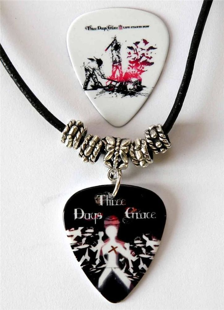 Three Days Grace Guitar Pick Black Leather Necklace Plus Matching Plectrum
