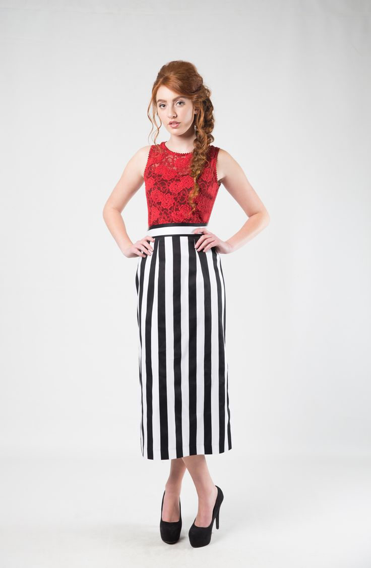 Available in either a bold stripe, or classic spots, this is perfect for all the followers of black and white - black and white striped skirts. Retro skirts, polka dot skirts. Photography; Nicole Troost