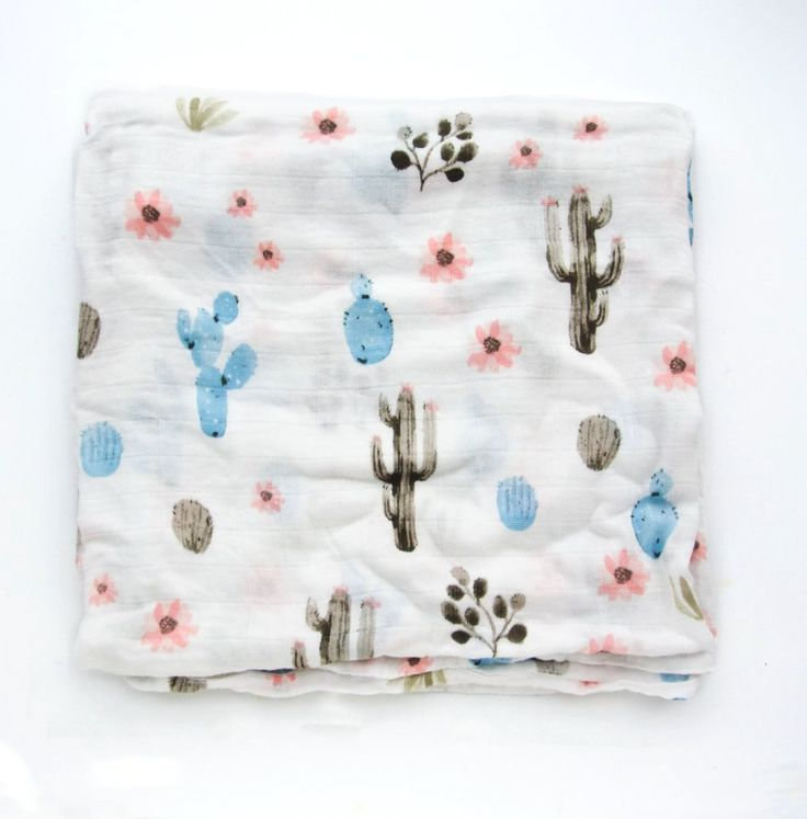 Cactus Floral Bamboo Swaddle - Spearmint LOVE