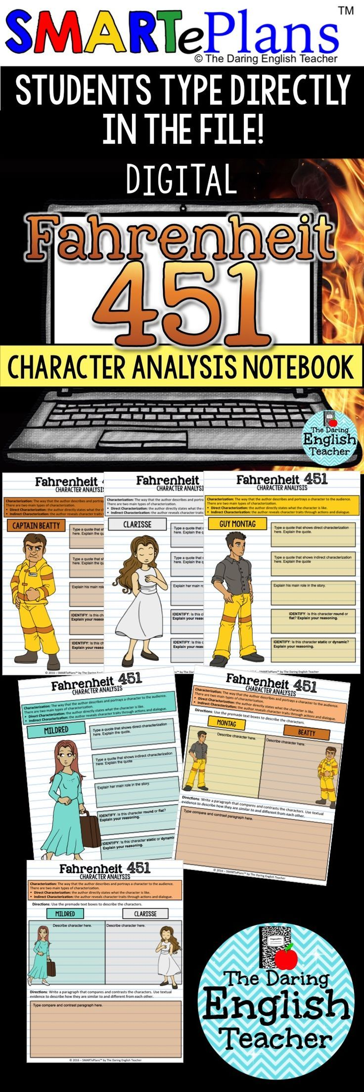 ideas about fahrenheit ray bradbury books digital fahrenheit 451 character analysis interactive notebook ideal for the digital high school english classroom