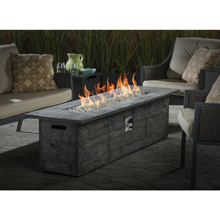 Shop Garden Treasures 72-in W 70,000-BTU Gray Composite Liquid Propane Gas Fire Table at Lowes.com