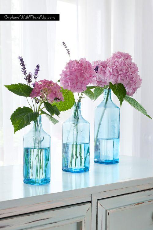 BlueGlass130726_7863.jpg - Upcycled Bombay Sapphire Gin Bottles & hydrangeas.