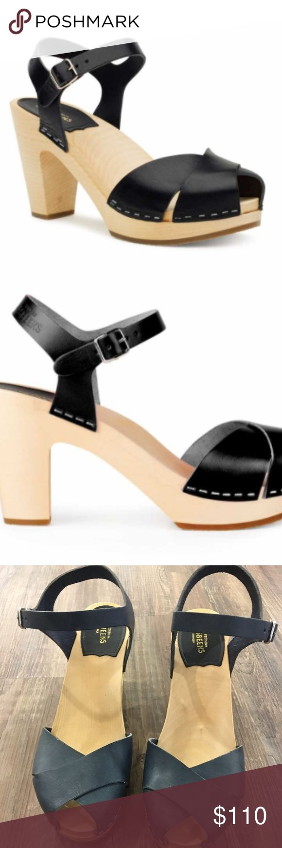 Swedish Hasbeens in Merci Sandal in Black Heel is 9.5 cm high (3.7 inches) Lime-tree wooden heel with rubber sole Italian natural grain leather, chrome free Swedish Hasbeens Shoes Sandals