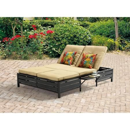 Mainstays double chaise lounger tan seats 2 festa del for Braddock heights woven double chaise lounge