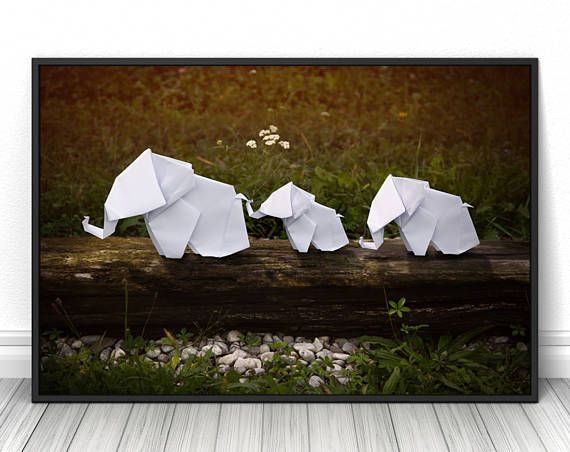 Elephant family origami creative photography, High quality living room print, Paper art on nature poster, Unique wall decor gift  #elephant #familyvacation #origami #papercraft #print #poster #fineart #art #creative #unique #fineartphotography #fineartprint #wallart #livingroomdecor #walldecor #bedroomdecor