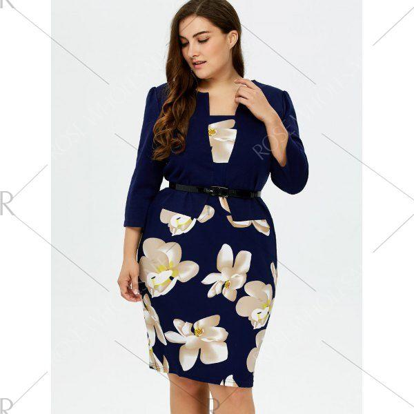 Plus Size Mid Length Pencil Peplum Dress Purplish Blue 3xl