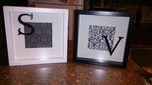 My DIY monogram shadowboxes for my twin girls