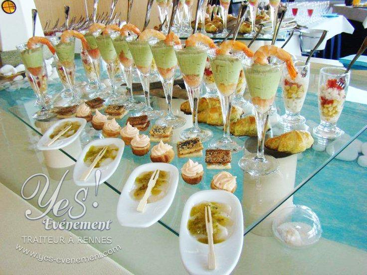 Buffet cocktail Yes-événement, traiteur à rennes. Carpaccio de saint-Jacques basilic et citron vert.
