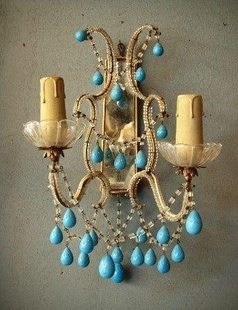 : Decor, Paris Apartment, Home Interiors, Turquoise, Turquoi Blue, Wall Sconces, Turquoi Beads, Sweet Peas, Design Home