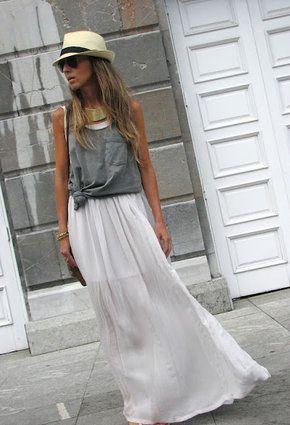 polleras largas: Fashion, Dress, Long Skirts, Outfit, Summer, Fashion Inspiration, Closet, Maxi Skirts
