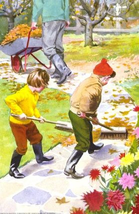 Sweeping the paths ~ vintage life ~ autumn, fall