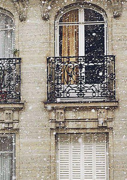 ♔ Paris ~ White snow in winter