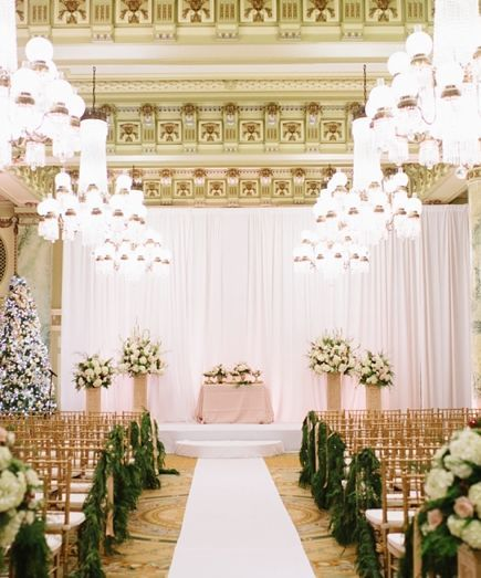 813 best wedding ceremony decorations images on pinterest glamorous gold and white indoor wedding ceremony featured photographer natalie franke photography junglespirit Image collections