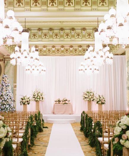 813 best wedding ceremony decorations images on pinterest glamorous gold and white indoor wedding ceremony featured photographer natalie franke photography junglespirit Images