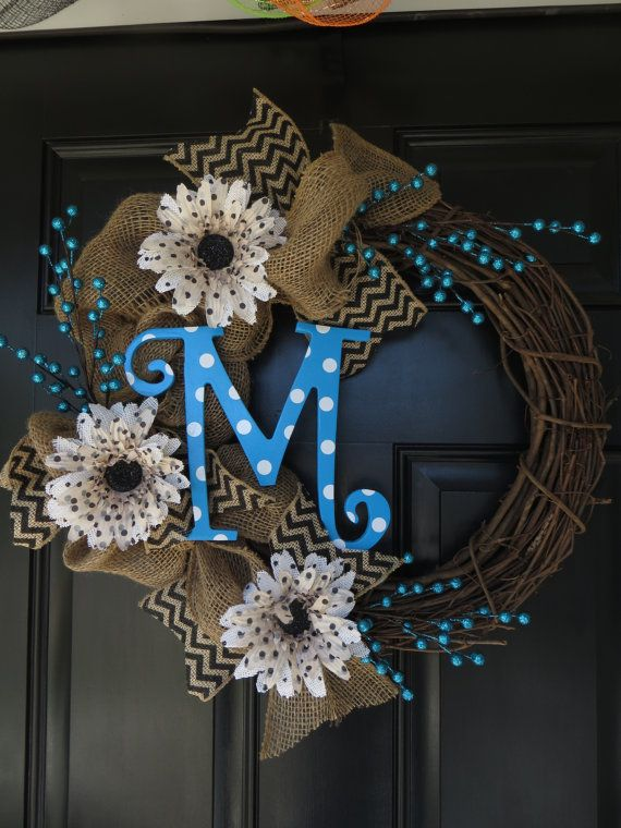 Burlap Wreath with Polka Dot Letter by TwistedandTwizzled on Etsy