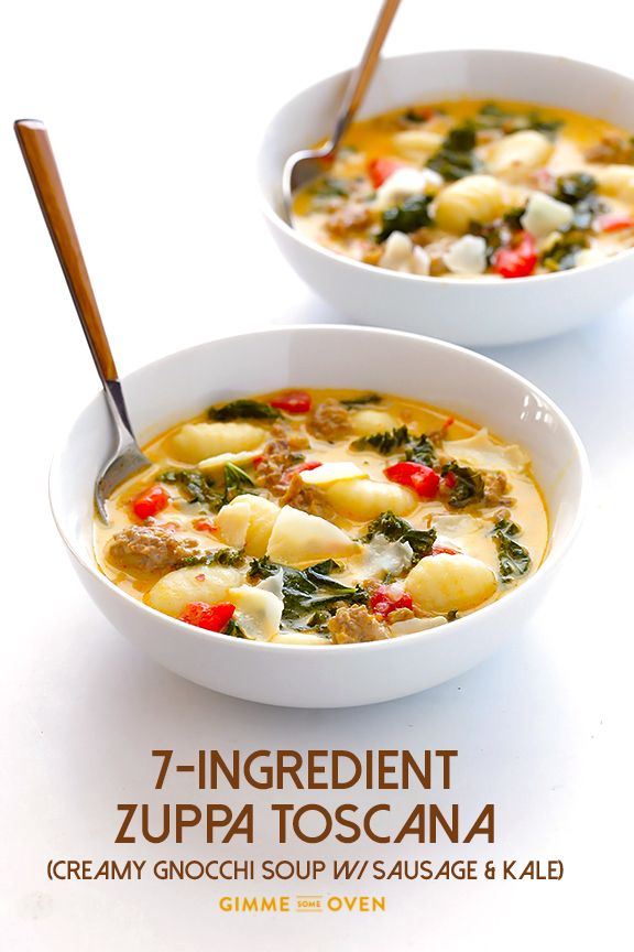 7-Ingredient Easy Zuppa Toscana (Creamy Gnocchi Soup with Kale and Sausage) - Gimme Some Oven