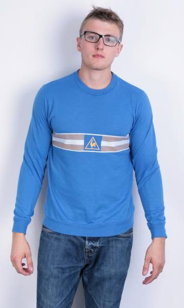 Le Coq Sportif Mens XL Vintage Sweatshirt Blue Crew Neck Retro Blouse Jumper - RetrospectClothes