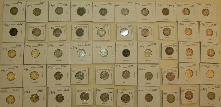 Lot of 50 90% Silver Dimes 1946-1949 some D-series Ungraded read description #dimes #silvercoins