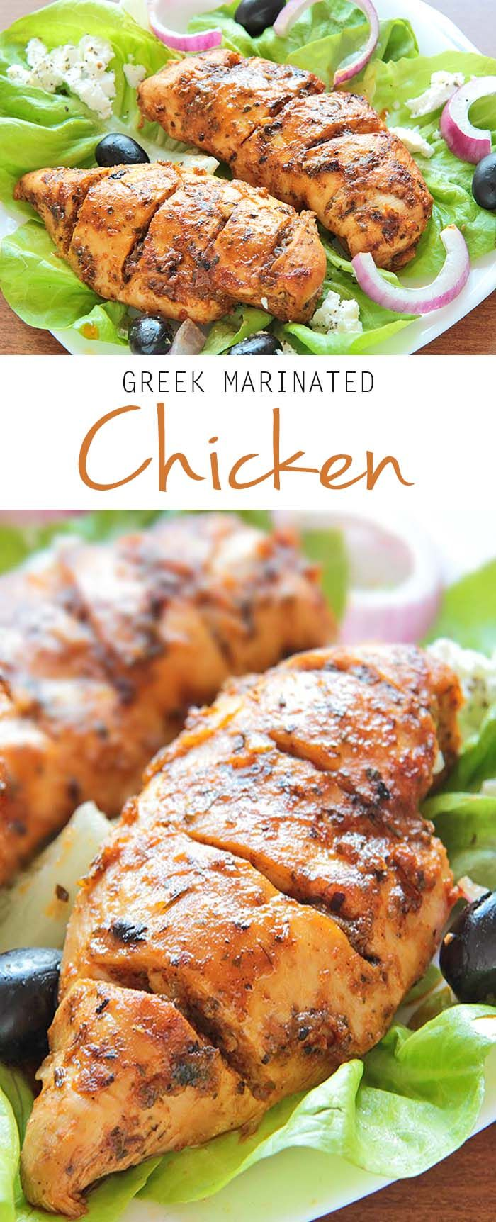 Easy Greek Marinated Chicken | www.sugarapron.com |Fresh #chickenbreast, #marinated with #greek blended spices and baked to perfection.