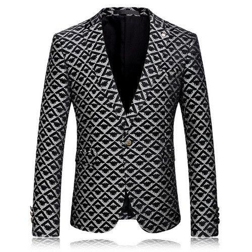 Men Red Printed Blazer Jacket Men Wedding Party Blazer Designs Slim Fit Blazer Costume Home