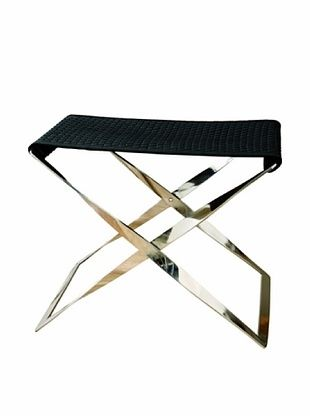 Global Views Woven Leather Folding Bench, Black