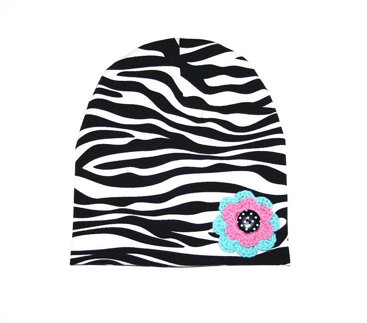 Zebra beanie with crochet flower.