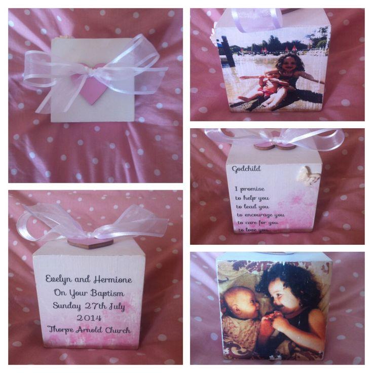 Photo block. Photo transfers. Handmade. Baptism gift. Christening gift. Godchild gift.