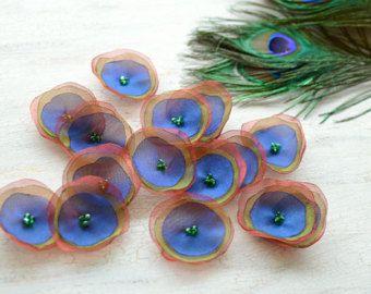 Tela de Organza y coser apliques de flores, flores de pavo real, flores de tela, bulto de flores de organza, seda amapolas (15 piezas) - pavo real plumas de BROWN