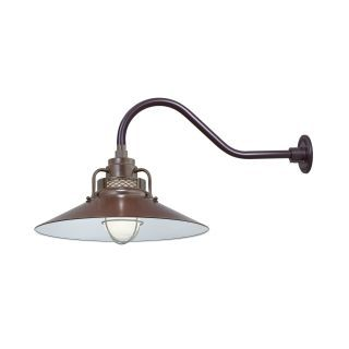 Shop For The Millennium Lighting Architectural Bronze R Series 1 Light Outdoor Wall Sconce With Wide Railroad Shade And Gooseneck Stem