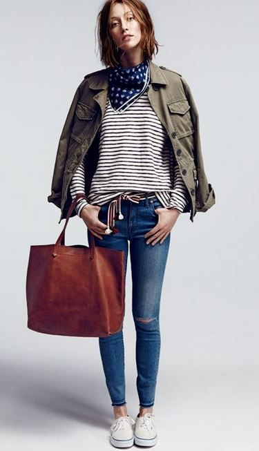 Long Sleeve striped Shirt- - Military Jacket- - Skinny Jeans - - White Convers