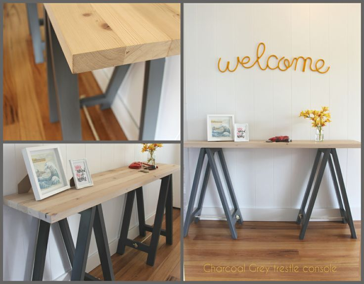 Elegant Www.plankandtrestle.com.au Charcoal Grey And Timber Console/hall Trestle  Table