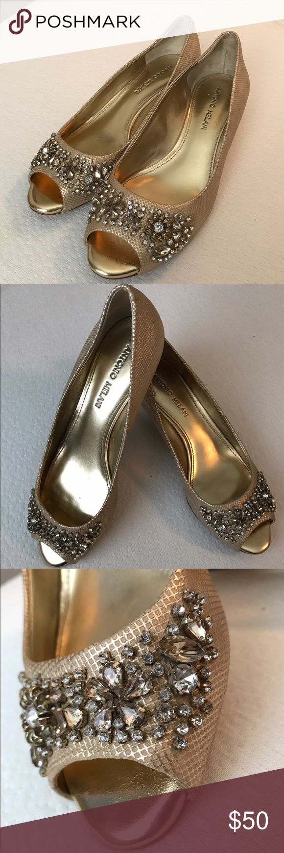 Antonio Melani kitten heals Gold kitten heal. Worn once. Comfy and classy. Love the gems and rhinestone accents. ANTONIO MELANI Shoes Heels
