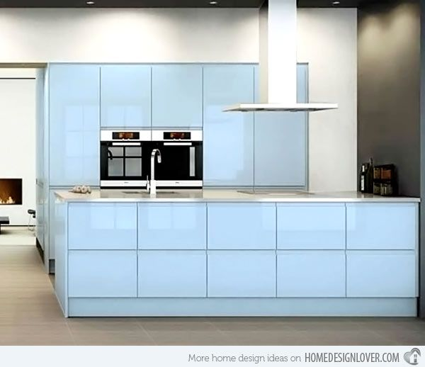 Is blue your hue? Creating a calming kitchen by using RAUVISIO brilliant in Notte or RAUVISIO crystal in Azzurro. https://www.rehau.com/us-en/furniture/surfaces