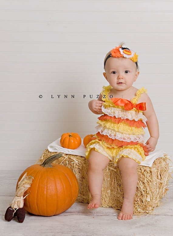Candy Corn with bow halloween fall orange brown felt applique Shabby Flower lace Elastic Headband for baby girl photography prop. $10.00, via Etsy.
