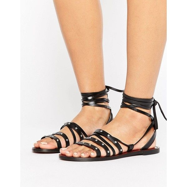 Pull&Bear Stud Detail Leather Sandals featuring polyvore women's fashion shoes sandals black lace-up sandals leather flats leather lace up flats lace up flats black leather flats