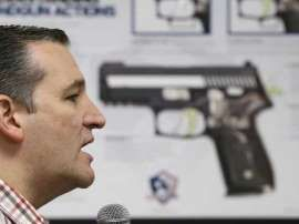 Possibilty?:  The AP published photos of Ted Cruz with an image of a gun pointing at his head