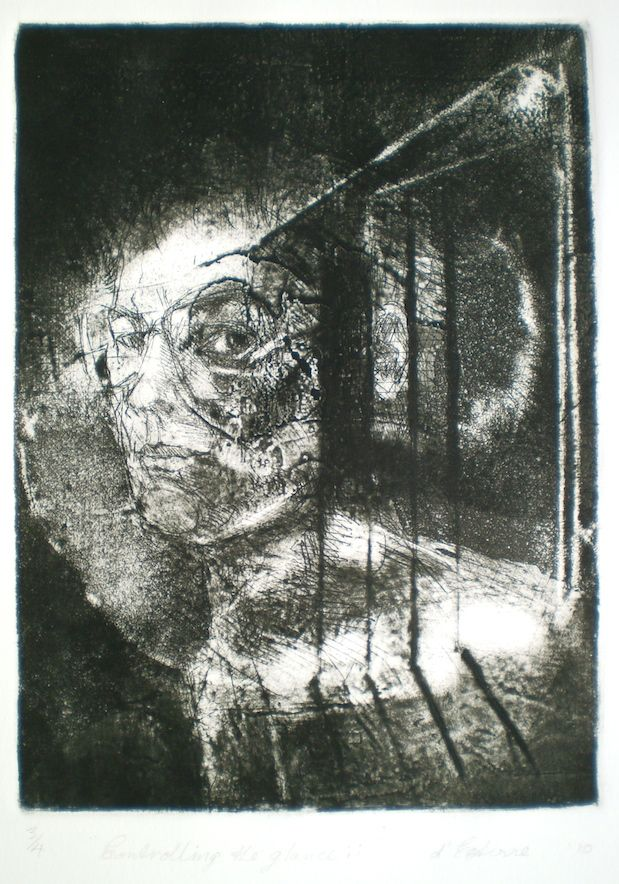 ELAINE d'ESTERRE - Controlling the Gaze, 2010,  intaglio and drypoint 25x18 cm print, 50x35 cm paper by Elaine d'Esterre about the way the Gaze determines a compositional format at http://elainedesterreart.com and http://www.facebook.com/elainedesterreart/ and http://instagram.com/desterreart/