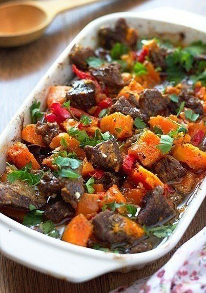 Meat baked with pumpkin