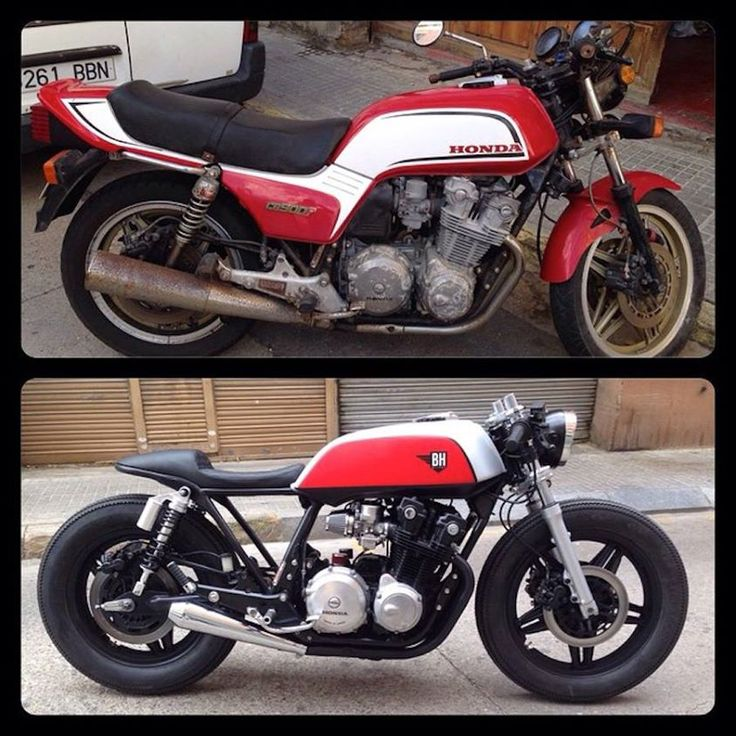 Cafe racer before and after. I want my bike to go through this so bad!! Hate the 80's look... Always have...