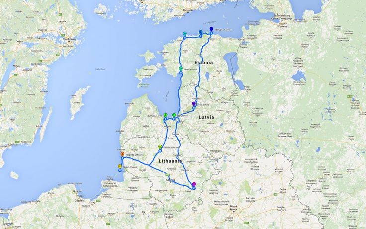 Map for road trip in Baltic countries Road trip Balte Pinterest