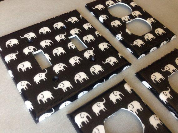 Black and white elephants double light by COUTURELIGHTPLATES, $16.50 bedroom decor, bathroom decor , shabby chic, teen room decor
