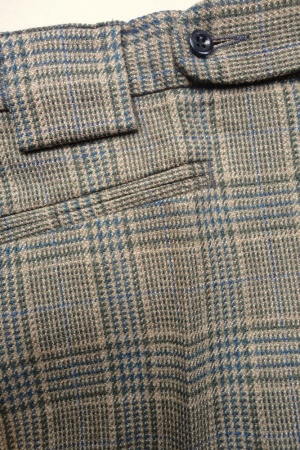 Mendoza Menswear » Dark Green and Camel Wool Check Trousers
