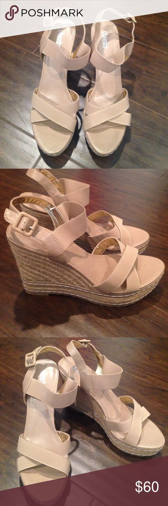 New Charles by Charles David wedges Never worn beige Charles by Charles Davis wedges size 10 Charles David Shoes Wedges