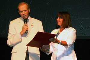 GAIL ASPER was presented with her Diamond Jubilee Medal by Senator Rod Zimmer Tuesday, August 13 at Shalom Square.