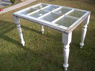 DIY: Window becomes table with piece of glass on top. You can display items between the window and glass in the shallow areas