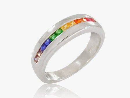 rainbow wedding ring lgbt - Rainbow Wedding Rings