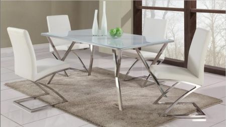 Image of JADE-DT-SET White Glass Dining Table Top With Modern Stainless Steel Dining Table Base + 4 Dining Room
