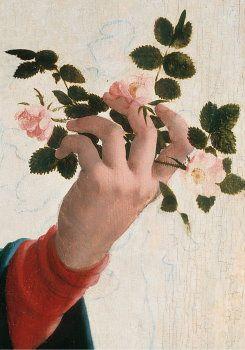 Postcard Madonna met wilde rozen (detail)   Jan van Scorel (1495-1562)