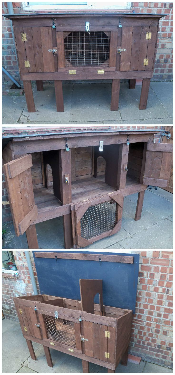 This Rabbit Hutch has a hinged roof so it can be lifted and both bedroom dividers can be removed for …
