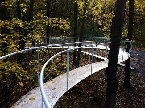 suspended ramp through a forest by Tetsui Kondo